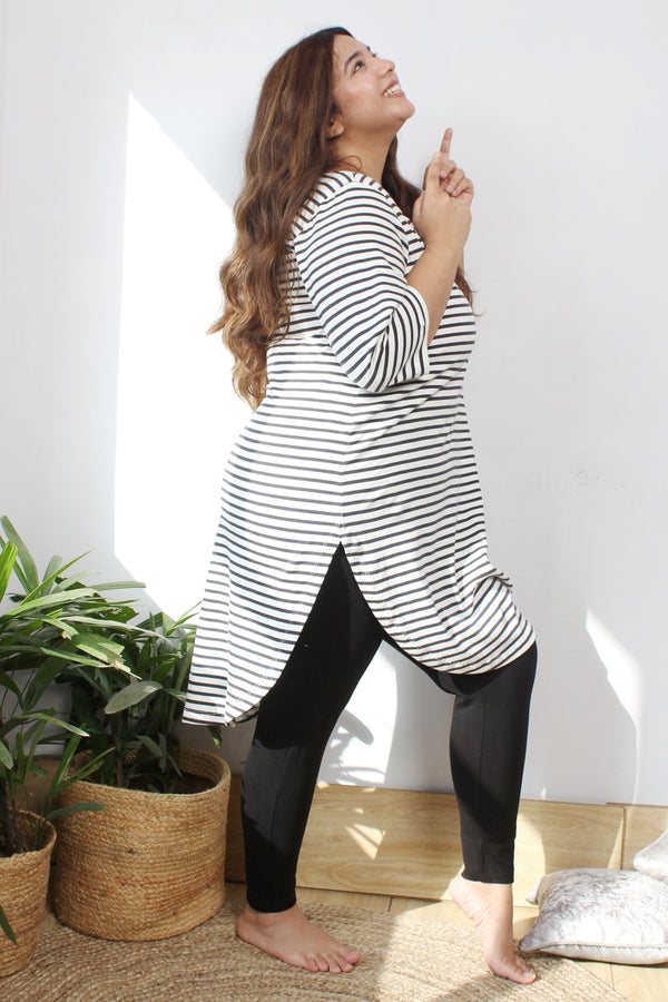 Black Stripe Longline Tunic