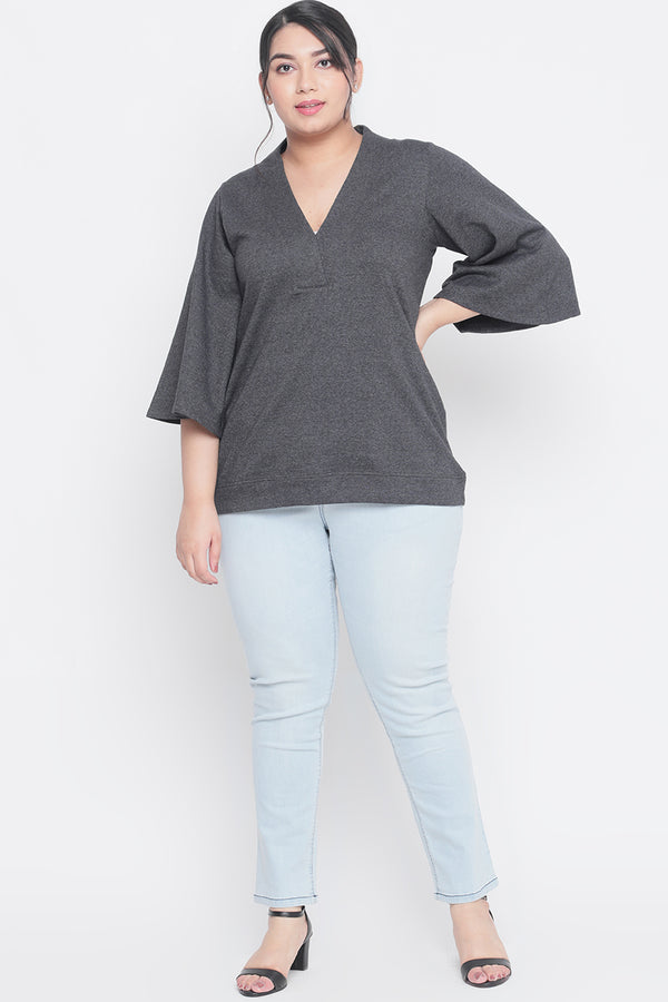 Dark Grey Bell Sleeves Winter Top