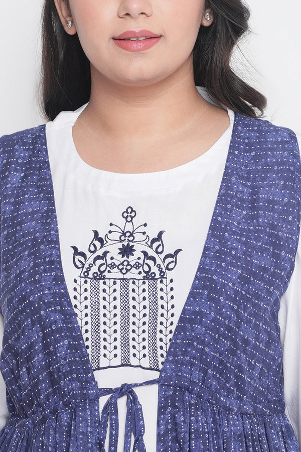 Indigo Print Kurti with White Inner