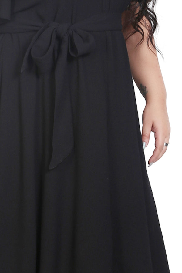 Black Waist Tie Dress