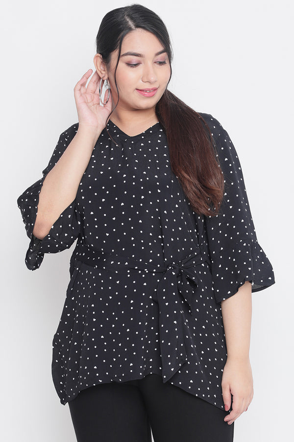Black Printed Tie Detail Frill Sleeve Top