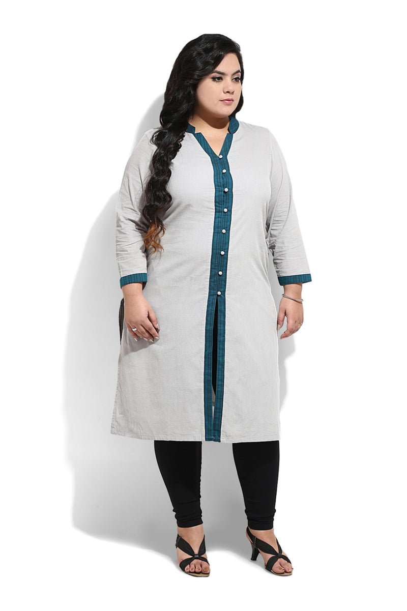 Long Kurti in Grey & Teal