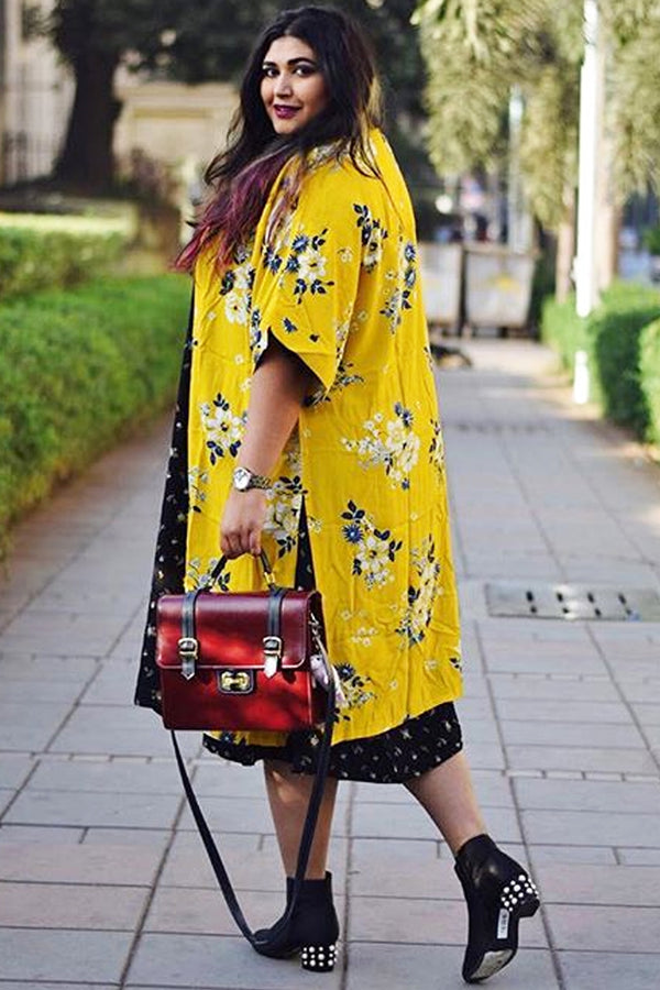 Yellow Floral Print Drop Sleeve Duster