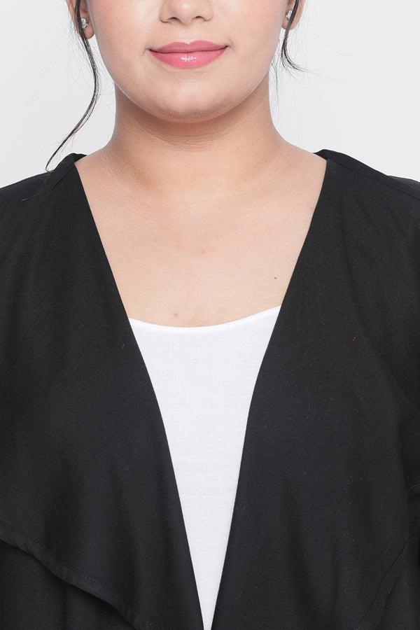 Black Waterfall Collar Duster