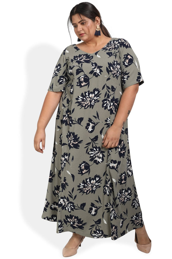 Olive Floral Print Full Length Dress