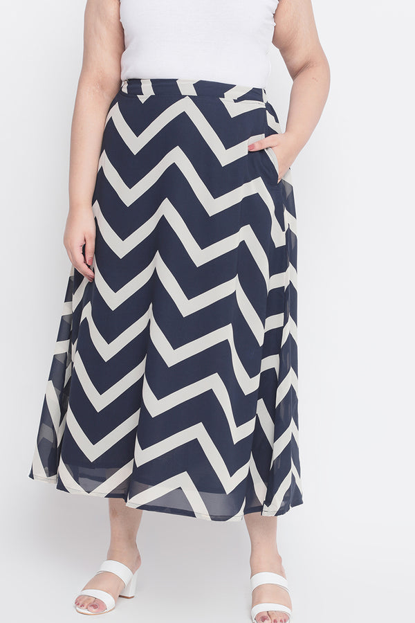 Chevron Georgette Print Maxi Skirt