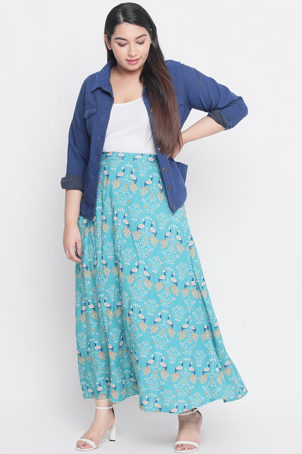 Blue Peacock Print Maxi Skirt