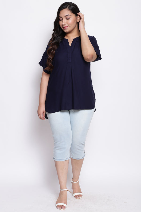 Navy Drop Shoulder Blouse