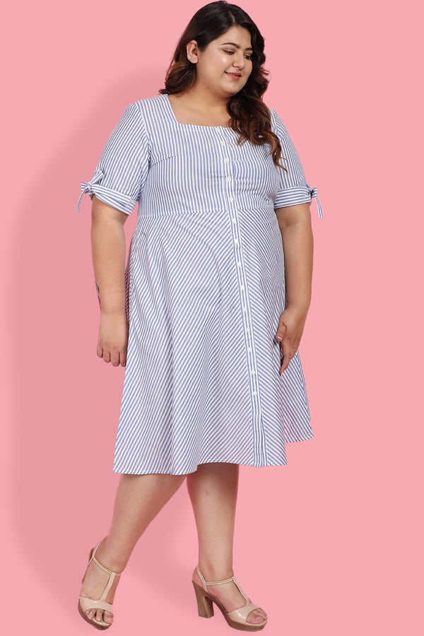 Blue White Stripe Tie Sleeve Dress