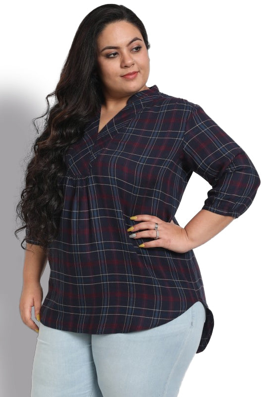 Navy Wine Check Overlap Neckline Top