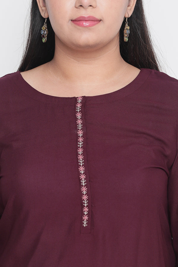 Plum Embroidered Sleeve Kurti