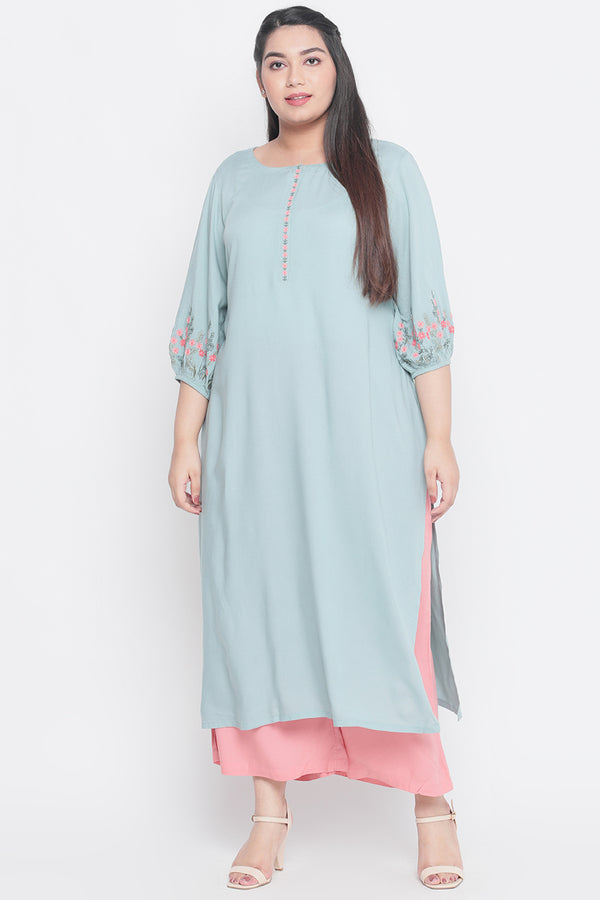 Tea Green Embroidered Sleeve Kurti