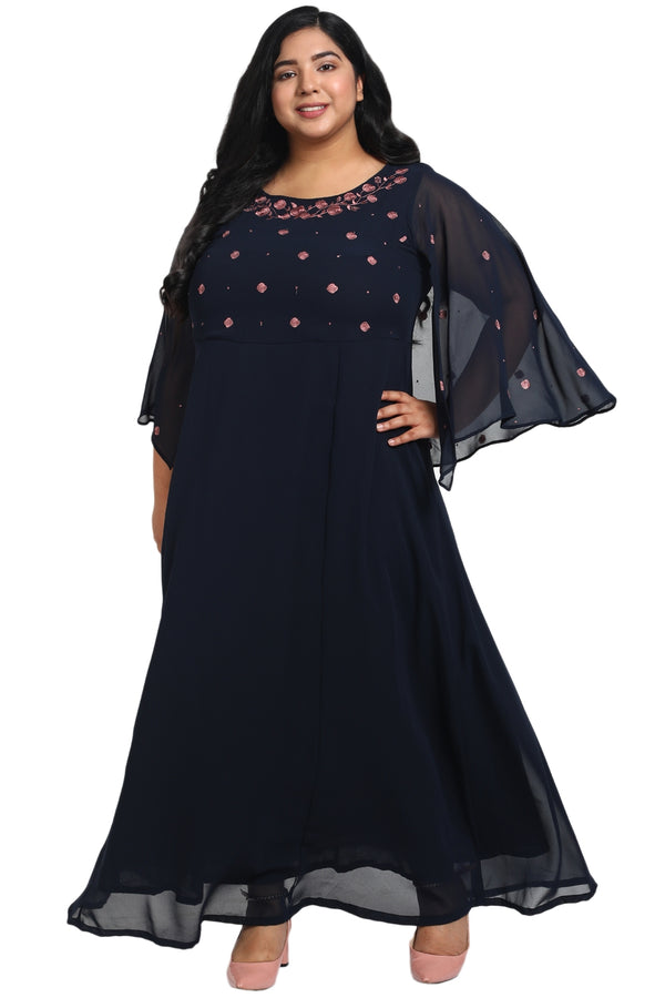 Navy Emnbroidered Flared Sleeve Gown