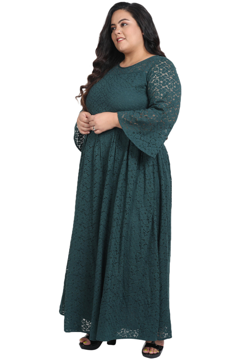 Emerald Green Lace Box Pleat Long Dress
