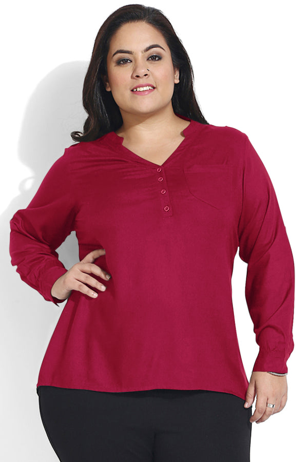 Wine Basic Button Down Top