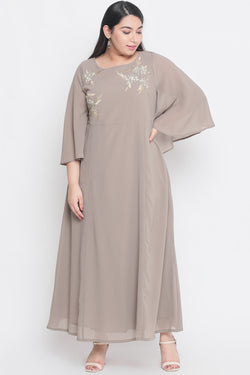 Grey Gloden Embroidery Bat Sleeve Gown