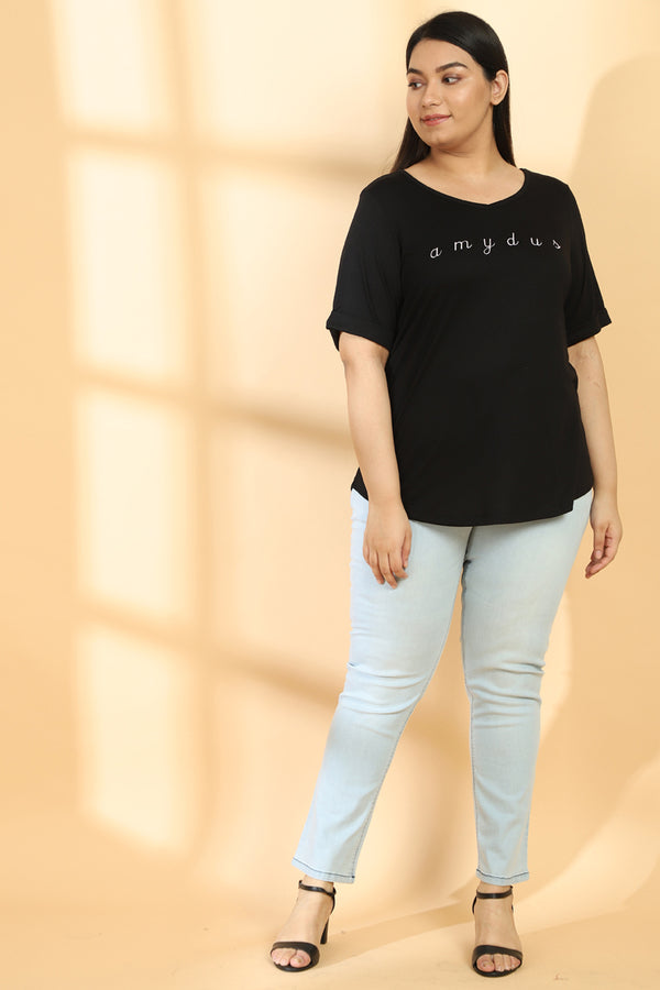 Black Embroidered TShirt