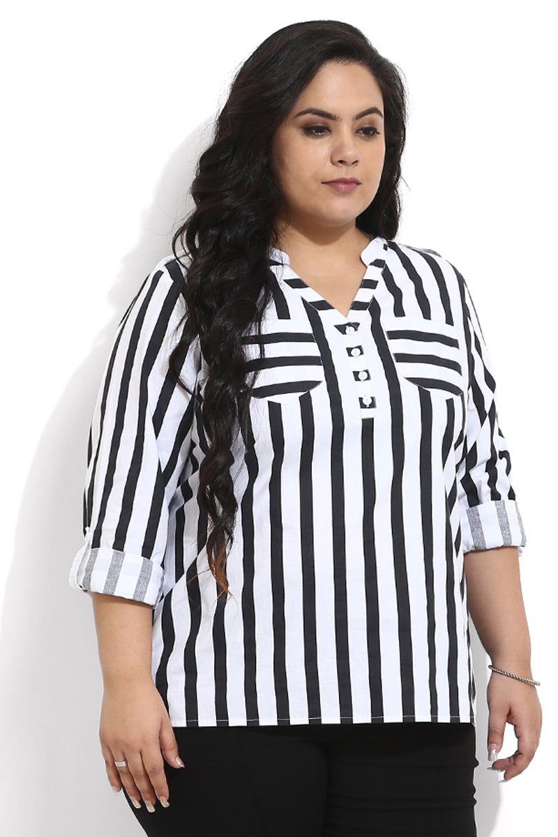 Black Amp White Stripe Top