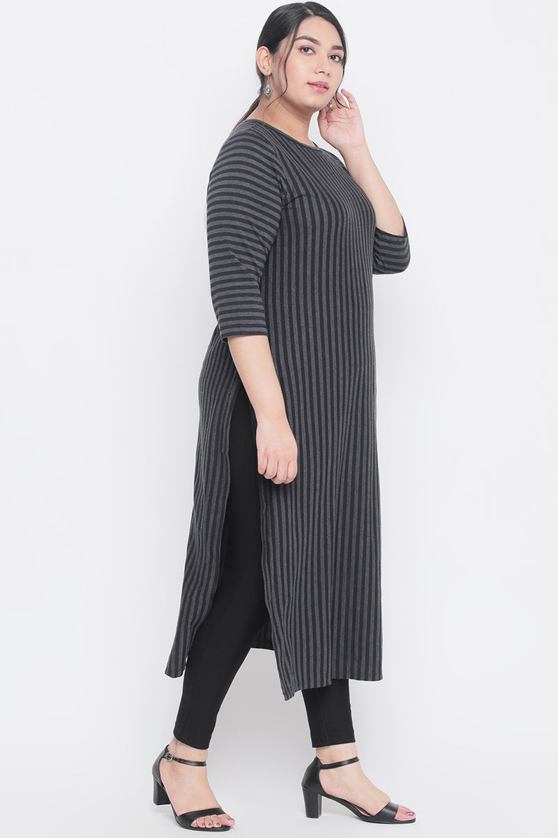 Black Stripe Knitted Kurti