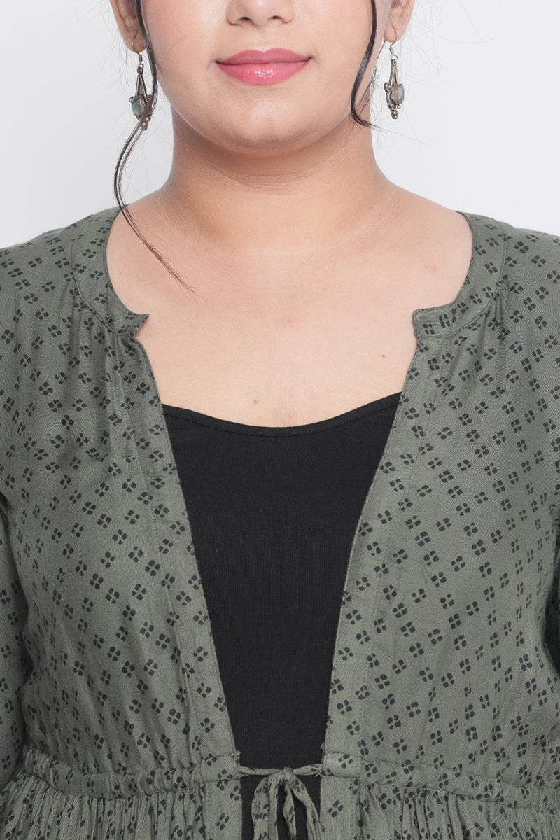 Olive Printed Drawstring Cape Shrug