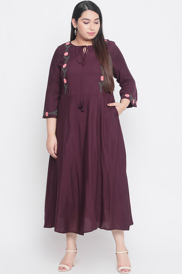 Plum Bell Sleeves A Line Dress