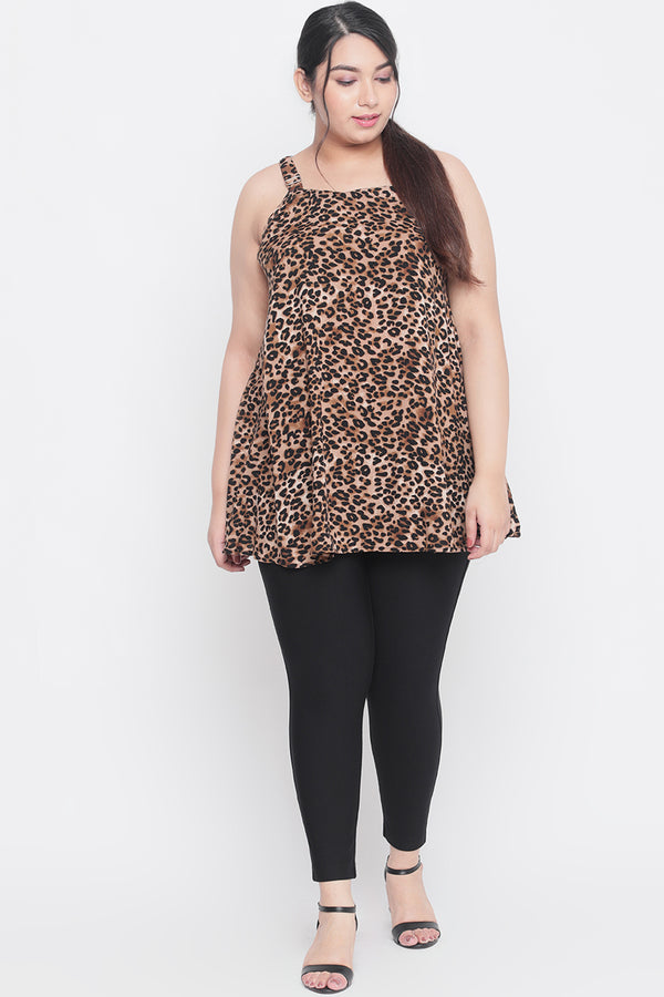 Leopard Print Strappy A Line Top