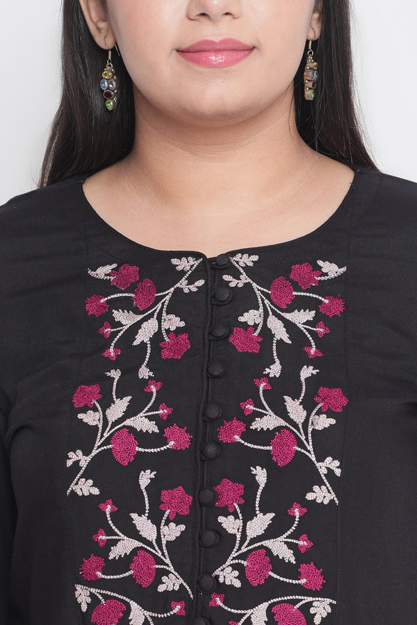 Black Yoke Embroidered Kurta