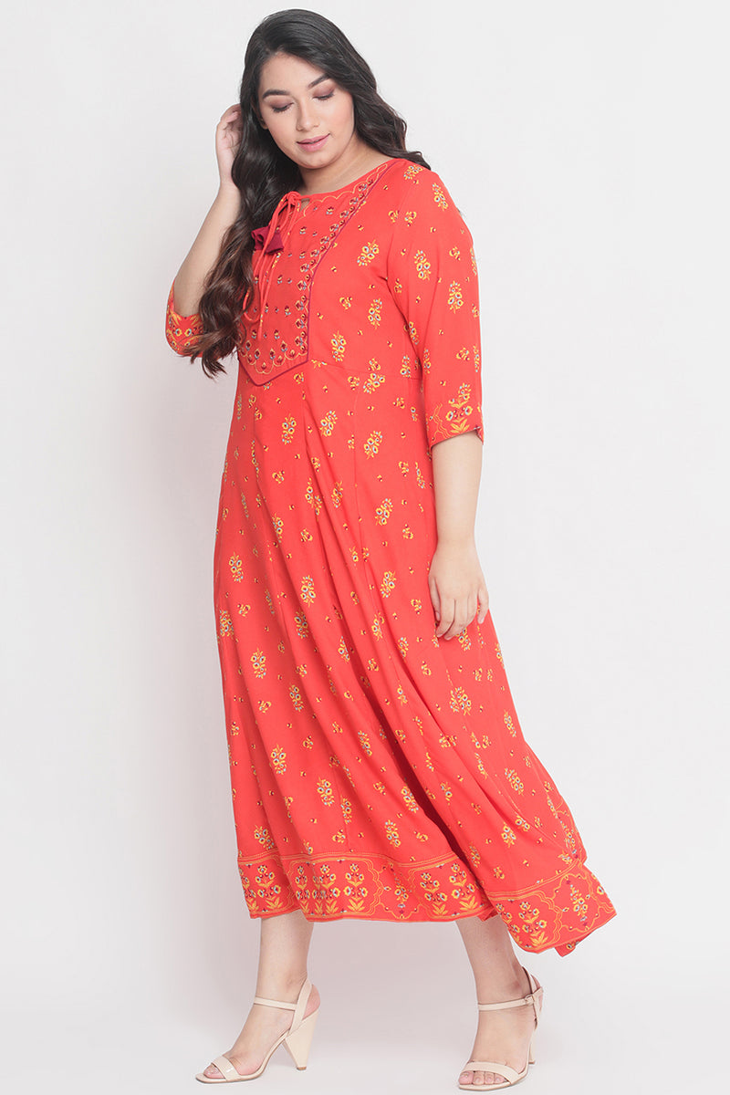 Poppy Print Yoke Embroidery Anarkali