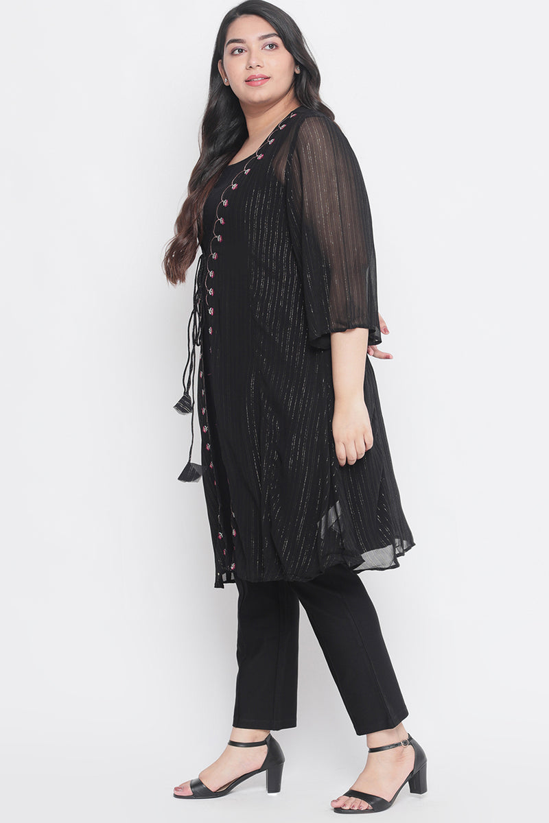 Layered Jacket Style Black Embroidered Kurta Set of 2