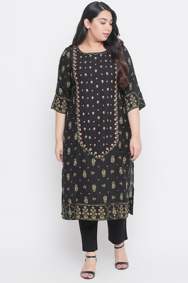 Black Printed Centre Panel Embroidered Kurti