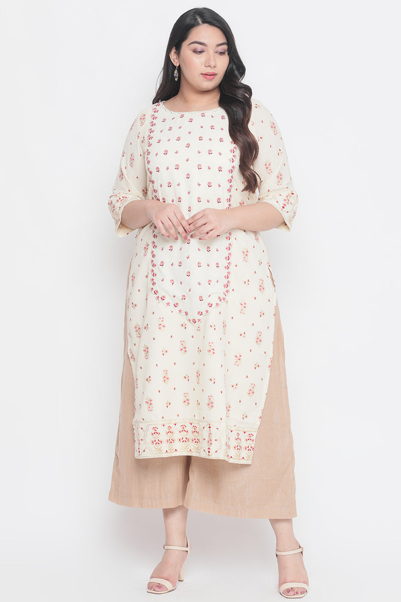 Cream Printed Center Panel Embroidered Kurti