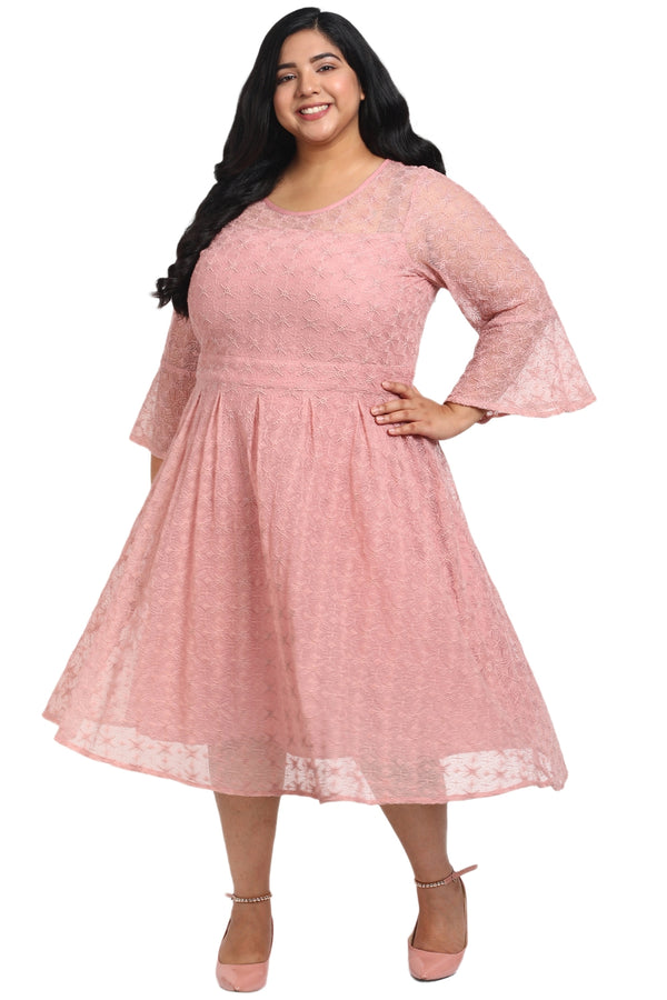 Rose Lace Box Pleat Dress