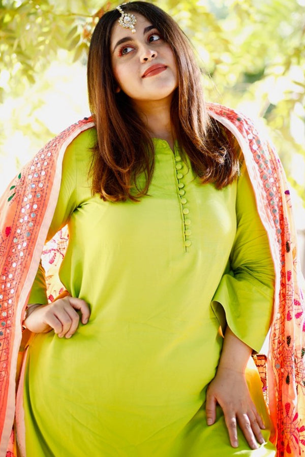 Parrot Green Button Detail Kurti