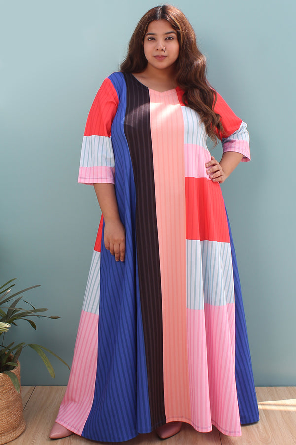 Colour Block Long Dress