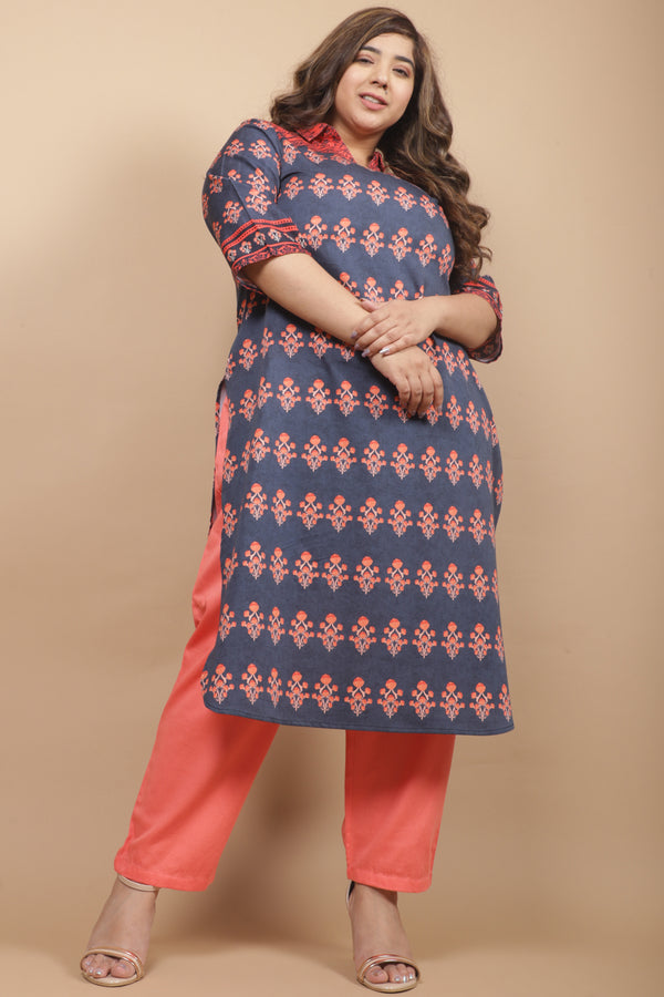 Teal & Red Printed Kurti
