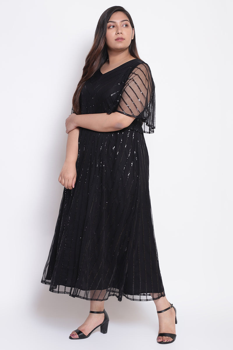 Black Back Smoked Sequin Dress