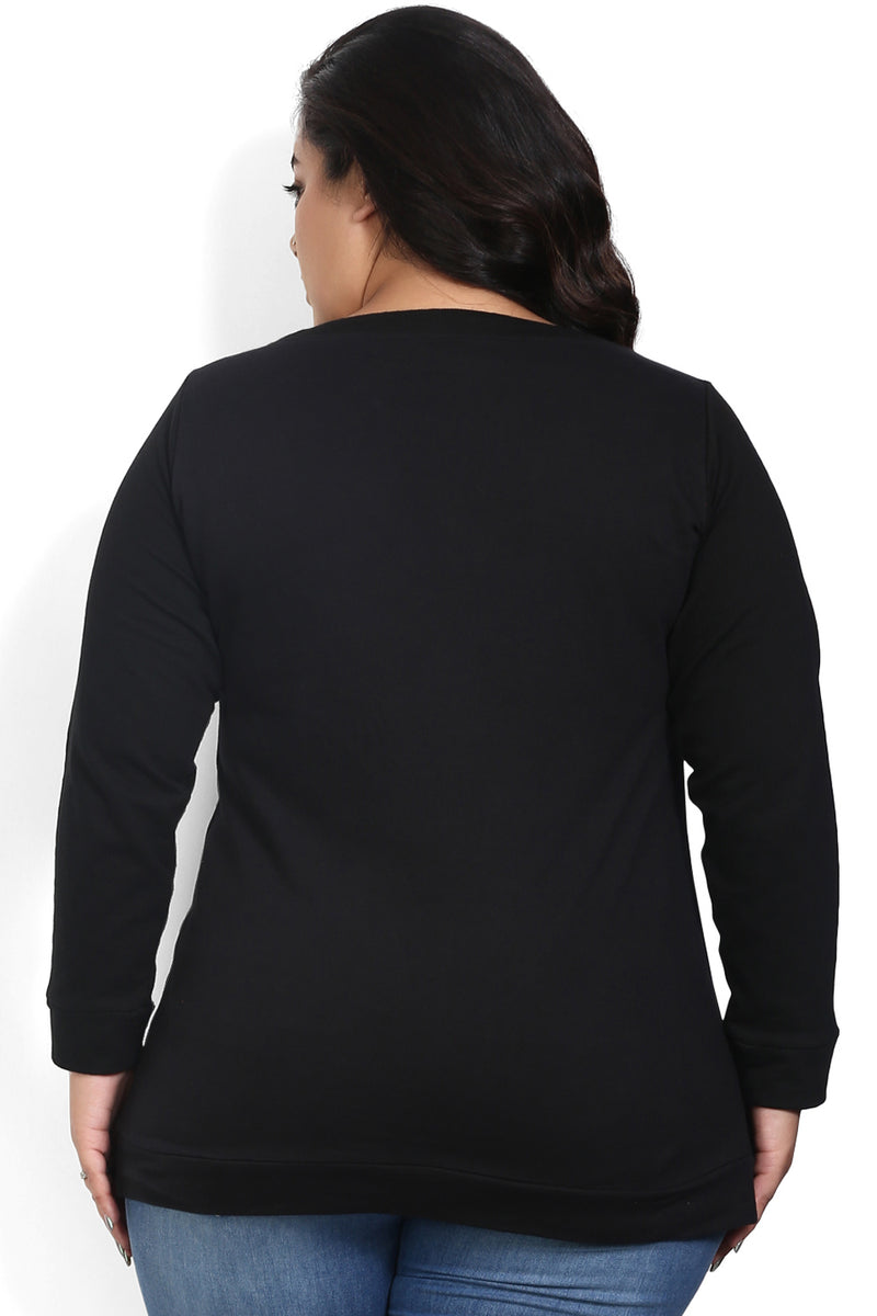 Black Birds Embroidery Sweatshirt