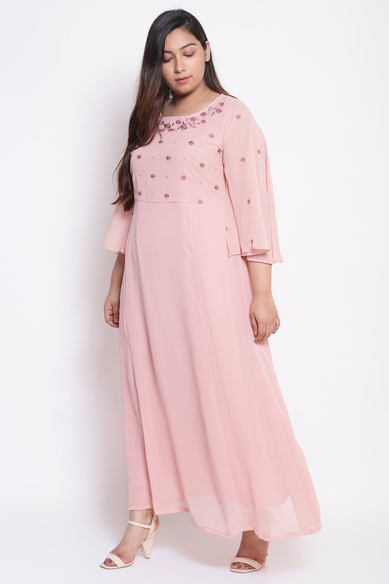 Rose Embroidered Flared Sleeve Gown