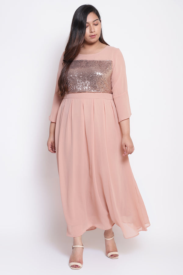 Peach Sequin Box Pleat Long Dress