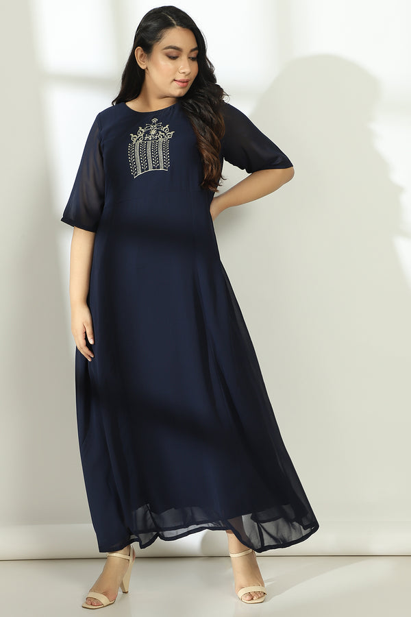Navy Yoke Embroidery Full Length Gown