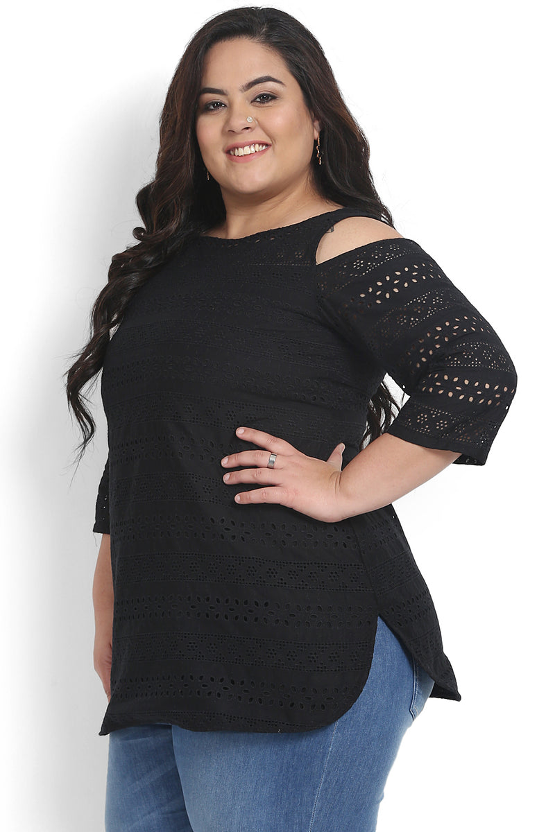 Black Schiffli Cold Shoulder Top
