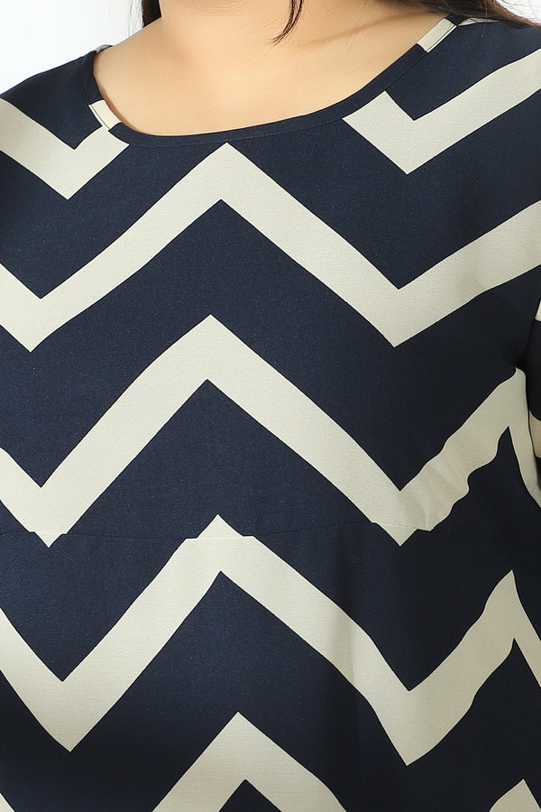 Chevron Print Georgette Maxi Dress