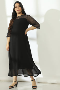 Black Lace Neckline Full Length Gown