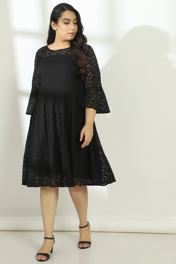 Black Lace Box Pleat Dress