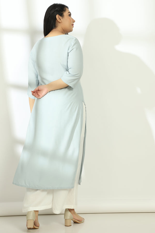 Ice Blue Bird & Cage Embroidery Kurti
