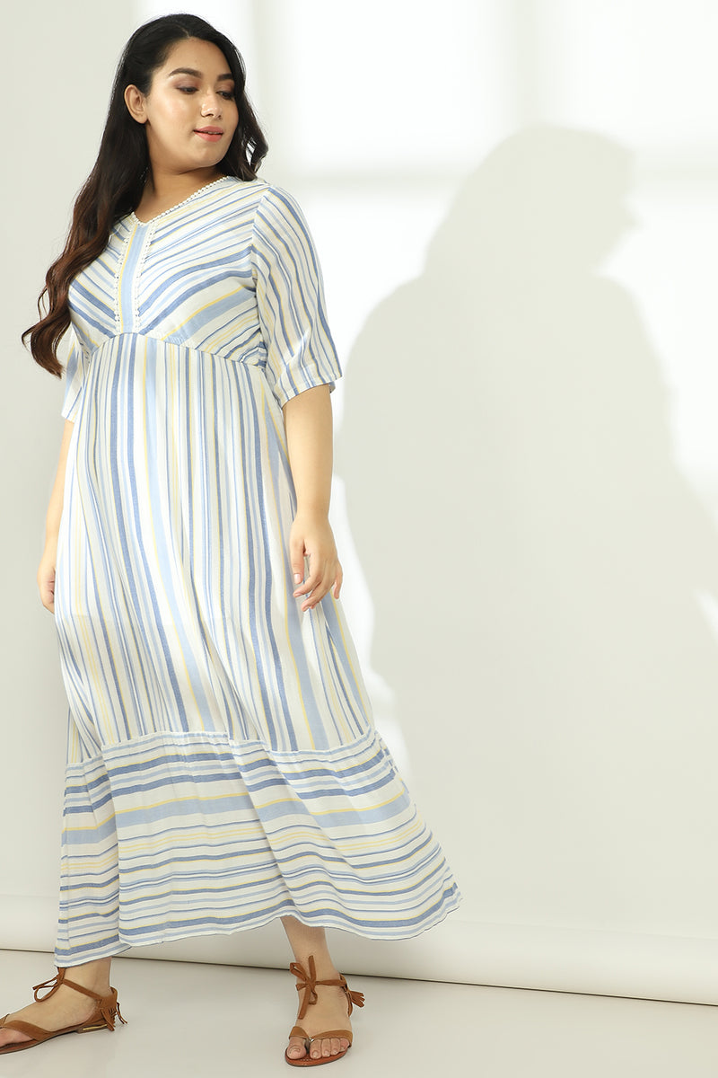 Blue Stripe Ruffle Detail Maxi Dress