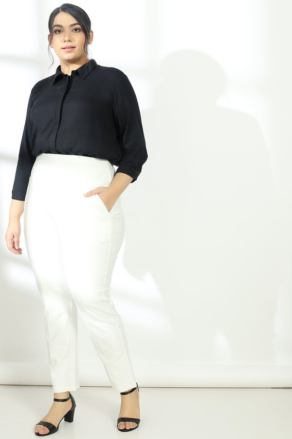 Black Concealed Placket Shirt