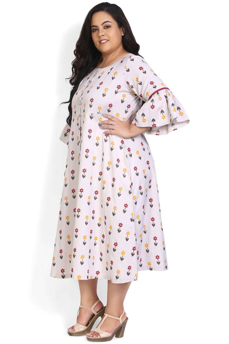 Arrow & Flower Printed A-Line Kurti