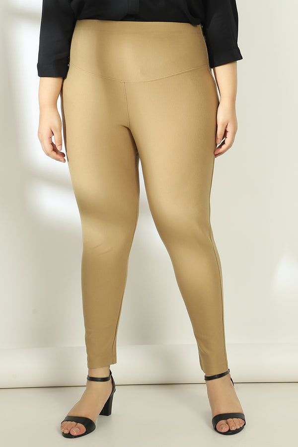 Brown Basic tummy tucker Jeggings
