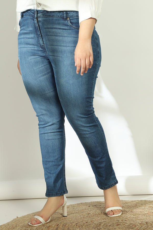 Midnight Navy Rubbed Wonder Fit Denims